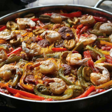 Shrimp, Olive, and Chorizo Paella