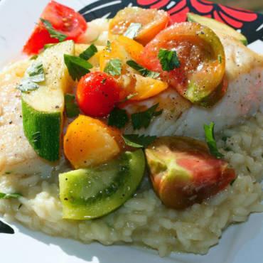 Halibut with Tomato & Squash Salad